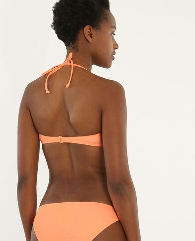 Bandeau-Bikinioberteil mit Querbändern Pfirsichfarben