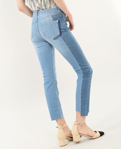 Zweifarbige 7/8-Skinny-Jeans Blau