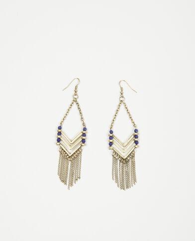 Boucles d'oreilles perles et franges doré