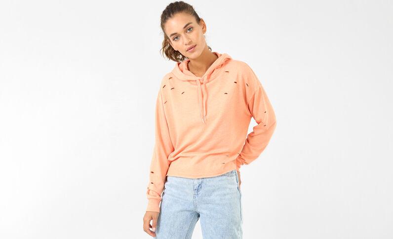 Sweatshirt mit Löchern Orange