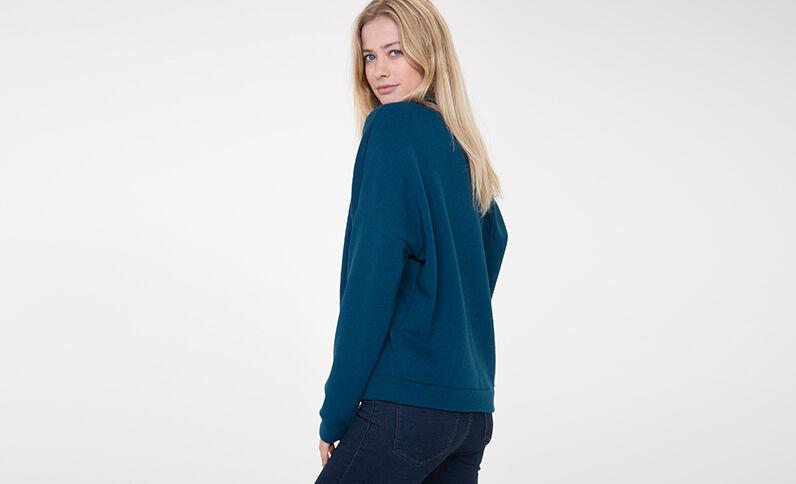 Sweatshirt mit Aufschrift Türkis