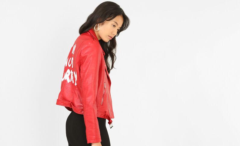 Giacca da motociclista con scritta. Rosso