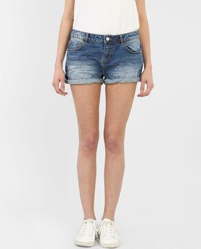 Shorts mit Umschlag Blau