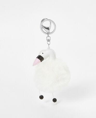 Porte-clés en fausse fourrure blanc