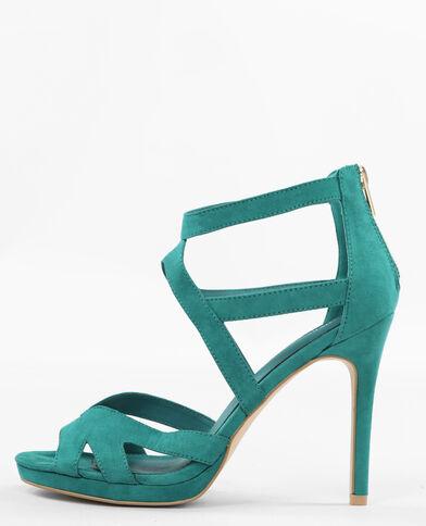 Sandaletten mit Absatz und Ajour-Muster Blau