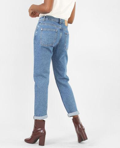 Mom-Jeans mit Stickerei Denimblau