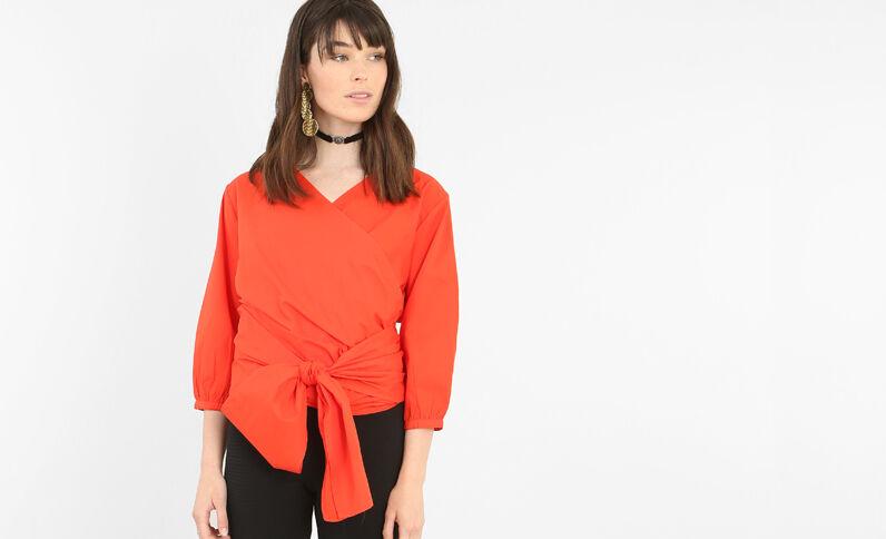 Chemise à nouer rouge
