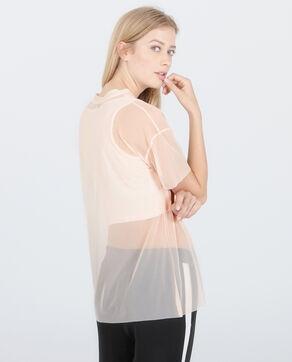 T-shirt résille 2 en 1 rose pâle