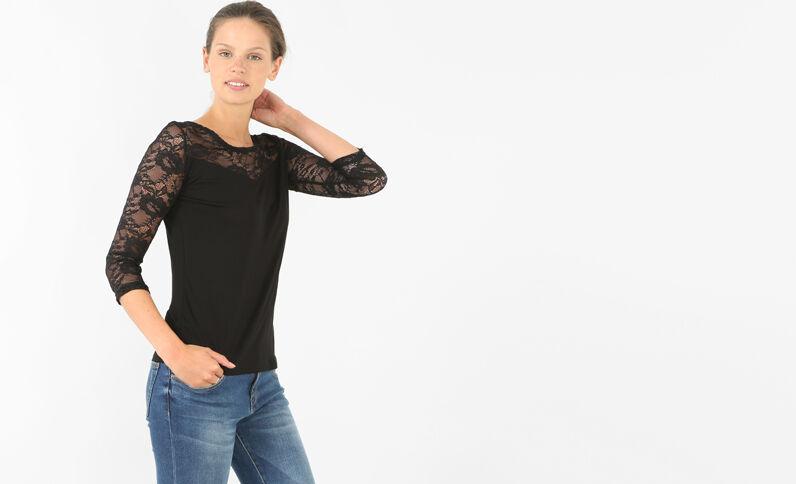 Camiseta de encaje negro