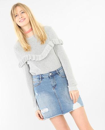 Pullover mit Rüsche Grau meliert