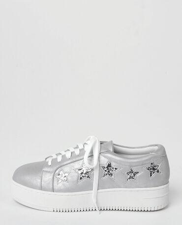 Scarpe da basket con piattaforma con stelle glitter grigio