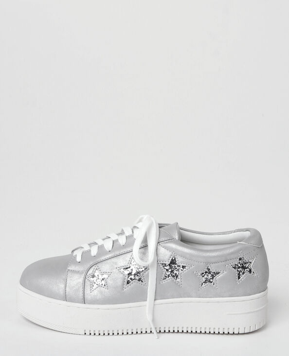 Baskets plateforme à étoiles glitter gris