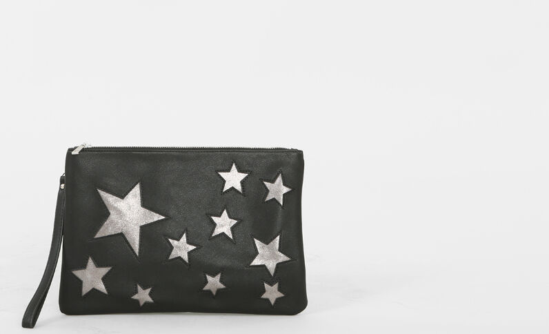Pochette motifs étoiles noir