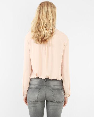 Blouse zippée rose pâle