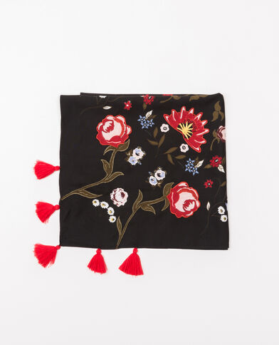 Foulard fleuri broderie et pompons noir