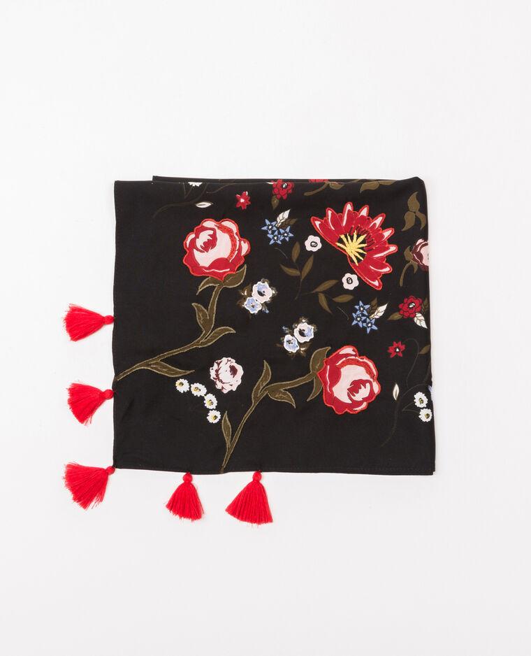 Fular de flores bordado con pompones Negro