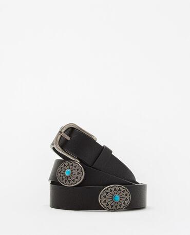 Cinturón negro con piedras turquesas negro