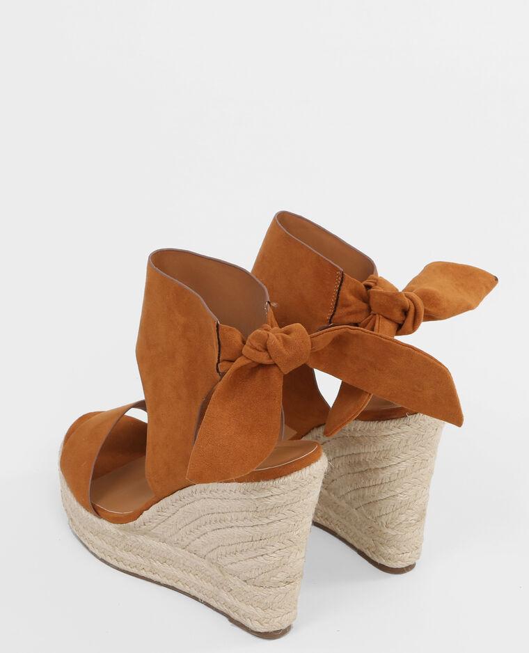 sandales compens es noeud marron 988065747a07 pimkie. Black Bedroom Furniture Sets. Home Design Ideas