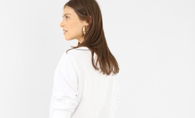 Asymmetrische sweater met opschrift wit