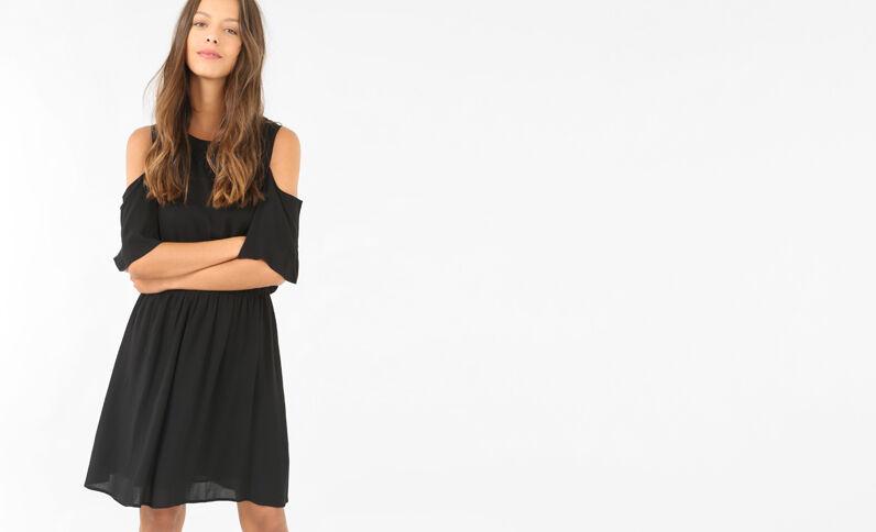 - Kleid mit Peekaboo-Ärmeln. Schwarz