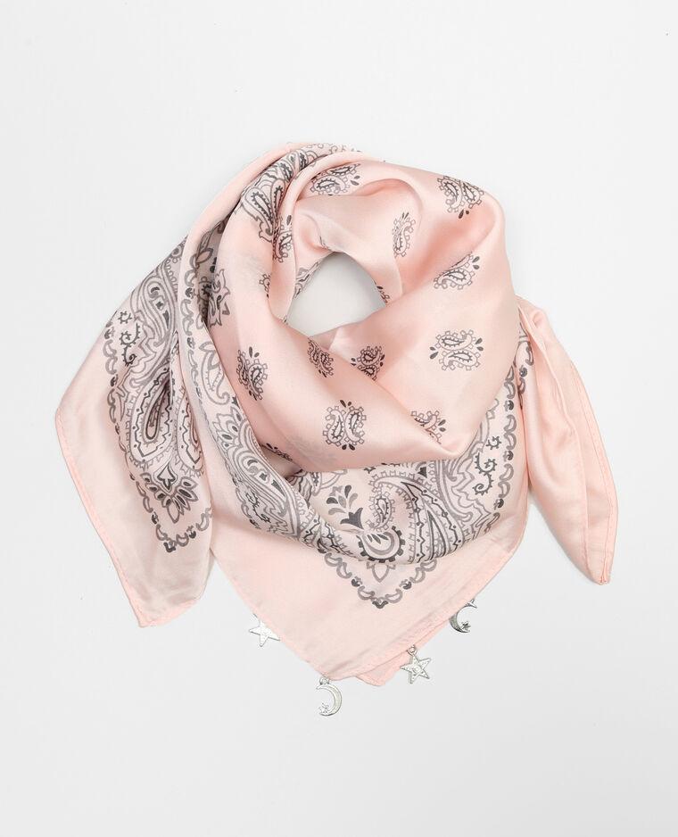 Bandana satin bijoux rose pâle