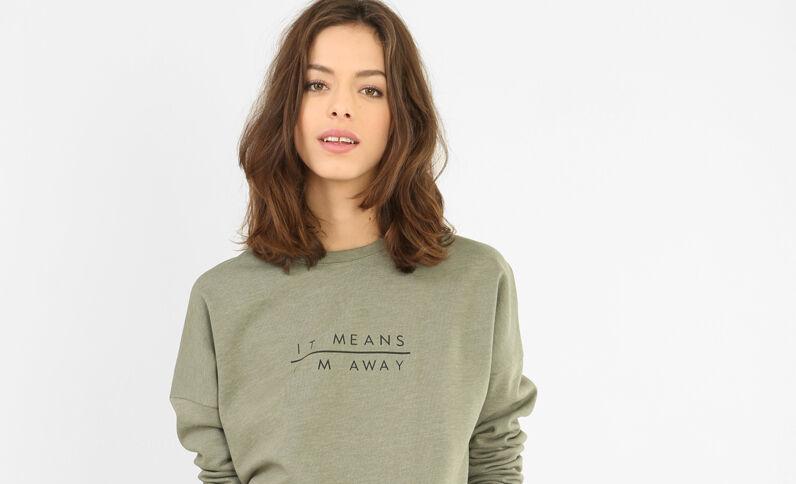 Sweatshirt mit Schriftzug Grün