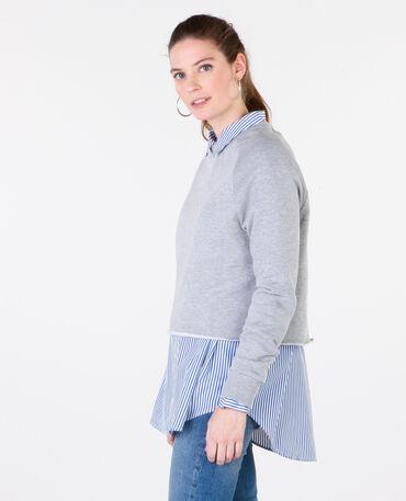 Cropped-Sweatshirt Grau meliert