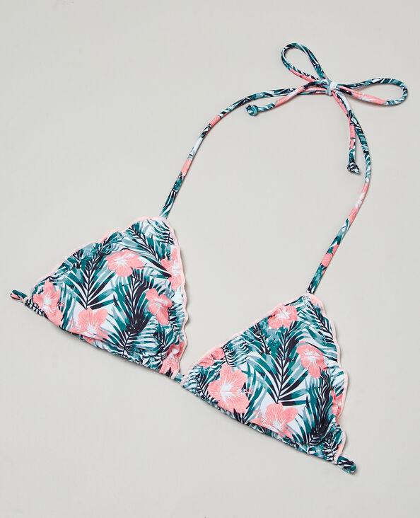 Triangel-Bikinioberteil mit Tropen-Motiv Naturweiß