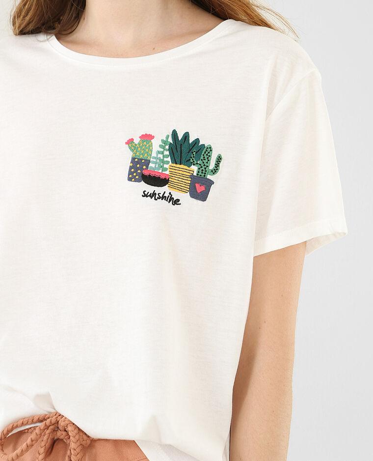 t shirt broderie cactus blanc cass 403582912f4a pimkie. Black Bedroom Furniture Sets. Home Design Ideas