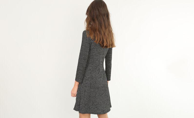 Trapez-Kleid mit Lurex Silberig