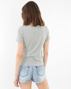 T-shirt collo incrociato grigio chiné