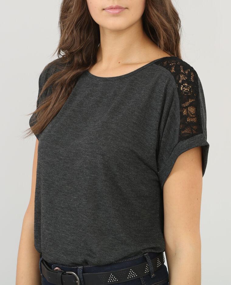 spitzen t shirt anthrazitgrau 482109824a08 pimkie. Black Bedroom Furniture Sets. Home Design Ideas