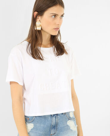 Camiseta crop mensaje 3D blanco