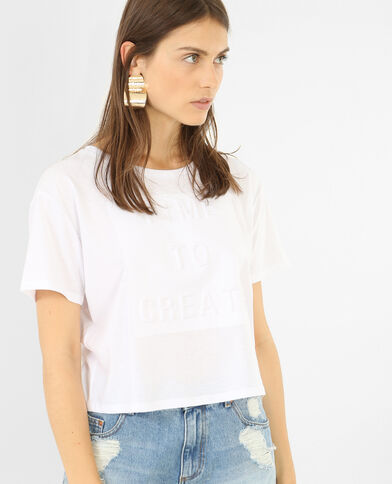 T-shirt cropped messaggio 3D bianco