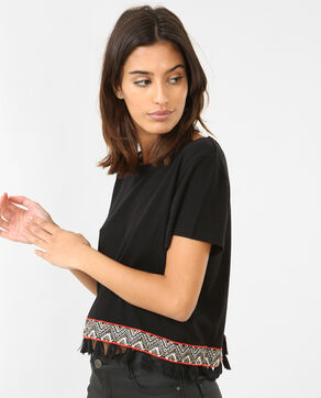 Cropped top à pompons noir