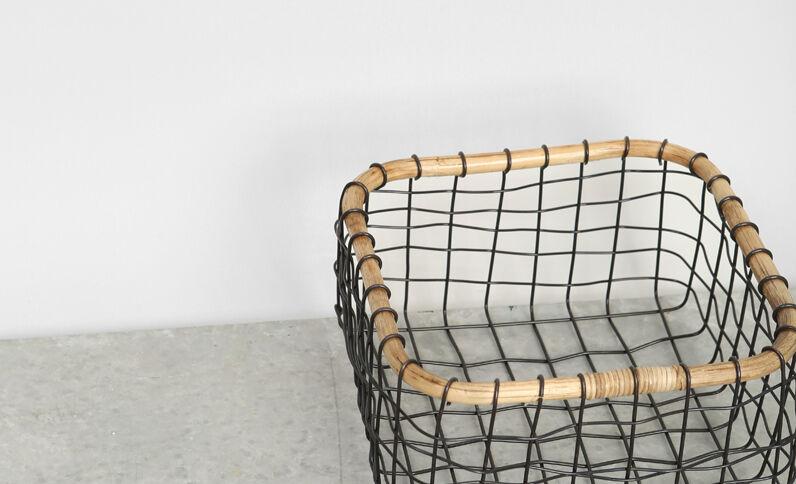 Korb aus Metall und Bambus Schwarz