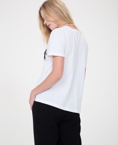 Perlen-T-Shirt Weiß