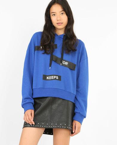 Sweatshirt mit Aufschriften Metallic-Blau