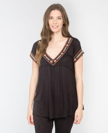 T-shirt ethnique noir