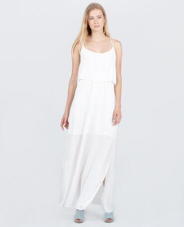 Langes Kleid mit gekreuztem Rückenteil Altweiß
