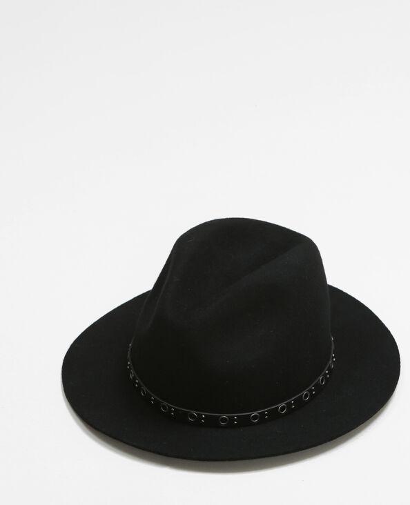 Sombrero fedora con ojetes negro
