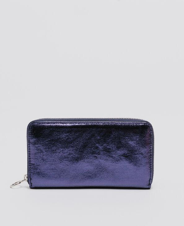 Shiny lange portefeuille donkerblauw
