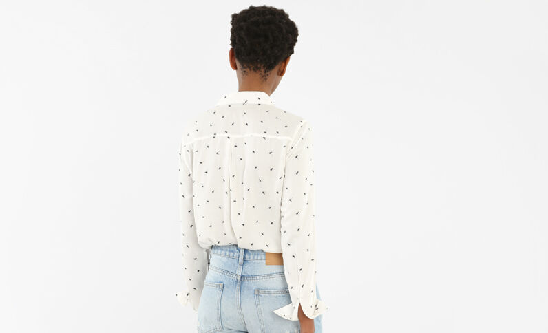 Camicia morbida stampata bianco sporco