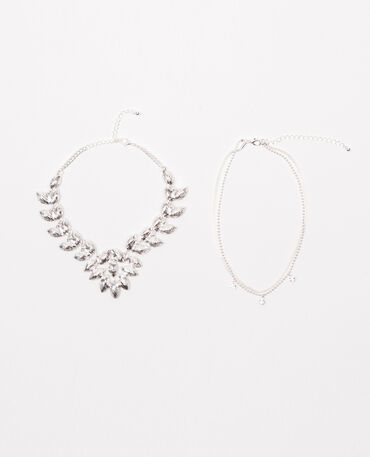 Lot de 2 colliers choker strass doré