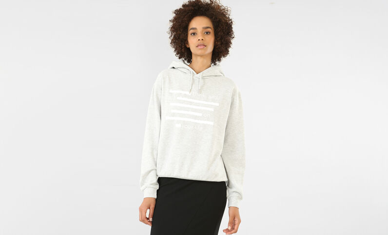 Kapuzen-Sweatshirt Grau meliert
