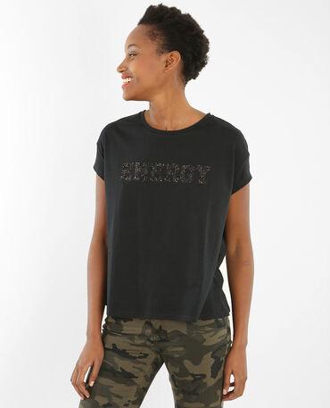 T-Shirt mit Schriftzug aus Pailletten Schwarz