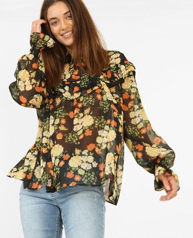Doorschijnende blouse met print zwart
