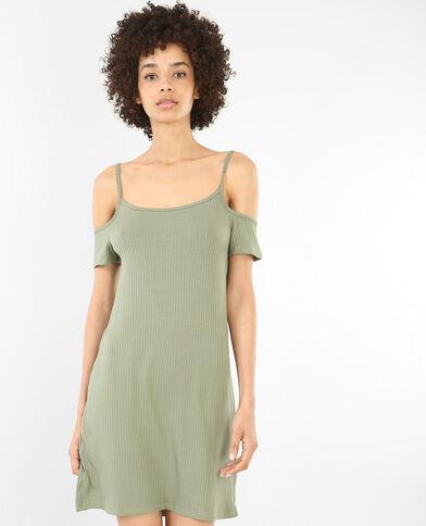 Geripptes Kleid mit Peekaboo-Ärmeln Grün