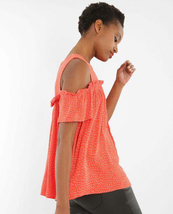 Bluse mit gepunkteten Peekaboo-Ärmeln Rot