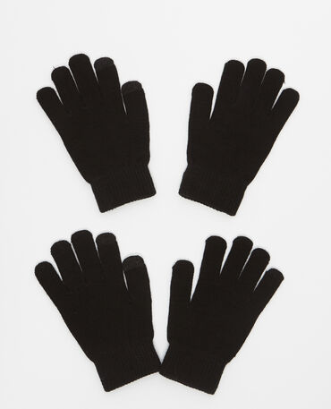 Lot de 2 paires de gants noir
